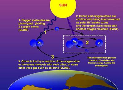 Décomposition de l'ozone dans la stratosphère