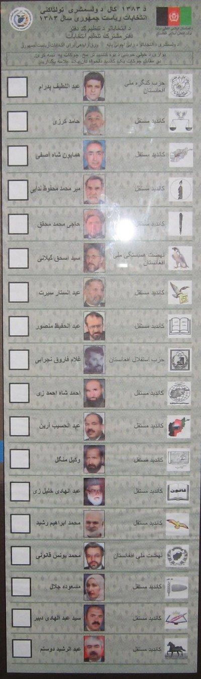 Bulletin de vote lors de l'élection présidentielle de 2004 en Afghanistan