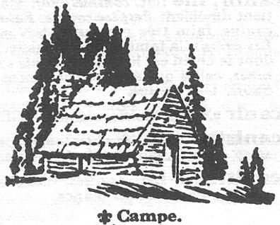Dessin d'un campe en bois ronde avec un tois de bardeaux en avant d'arbres