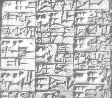 Tablette avec de l'écriture cunéiforme datant d'environ 2600 avant J.C