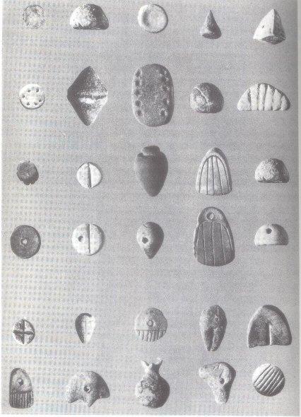 Figurines d'argiles trouvées sur le site de l'ancienne ville de Susa (ajourd'hui en Iran). Ces figurines datent d'environ 3300 ans avant J.C.