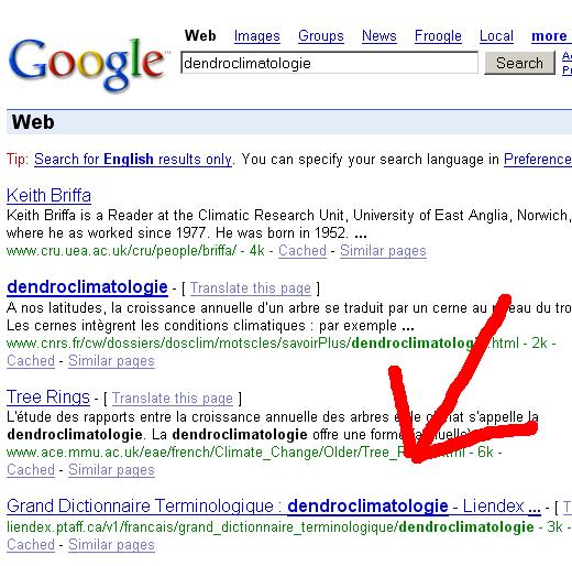 Saisie d'écran sur le moteur de recherche google avec la chaîne de caractères