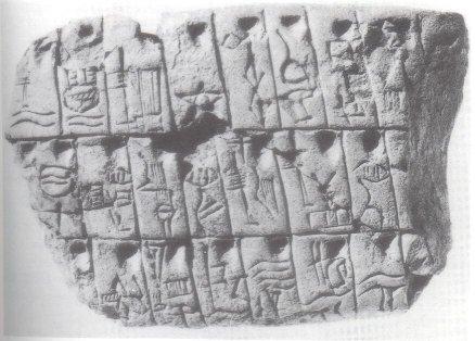 Tablette avec de l'écriture proto-cunéiforme datant d'environ 3000 avant J.C.