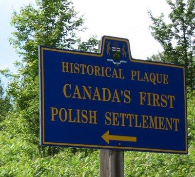 Écriteau de la première colonie polonaise du Canada