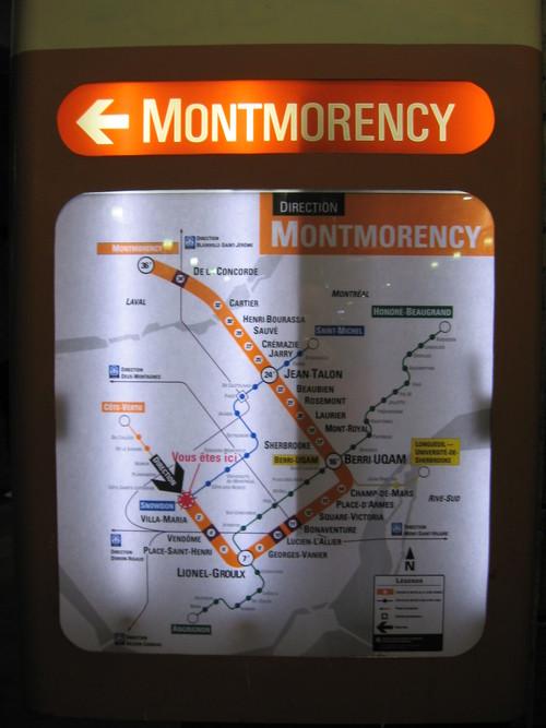 Direction et temps sur la ligne orange du métro de Montréal