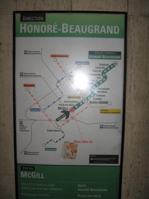 Direction et temps sur la ligne verte du métro de Montréal