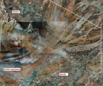 Image satellite de la dépression de Bodélé, du Tibesti et de l'Ennedi