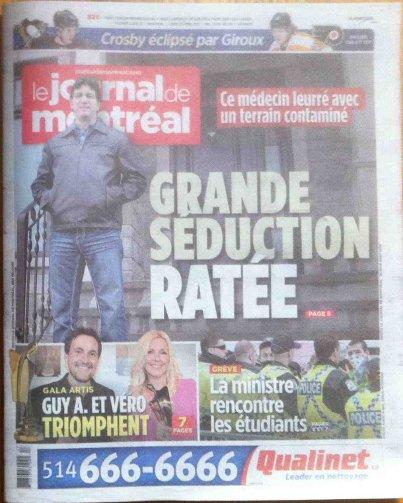 Une du Journal de Montréal le 23 avril 2012