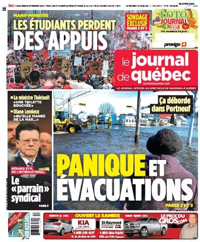Une du Journal de Montréal le 23 mars 2012