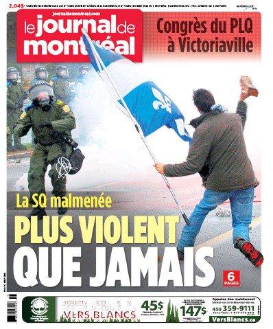 Une du Journal de Montréal le 5 mai 2012