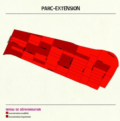 carte de la dfavorisation des familles, Parc-Extension