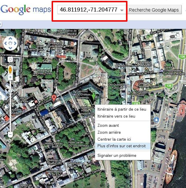 Google Maps chateau Frontenac