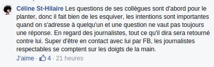 Commentaire pro PKP sur la page Facebook de ce dernier.
