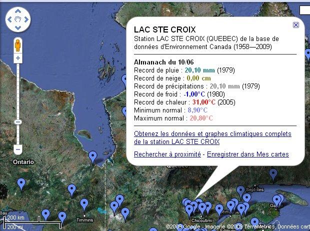 Saisie d'écran dans GoogleMaps(TM) où on voit les endroits où les records sont disponibles.
