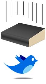 Livre au-dessus de l'oiseau bleu de Twitter