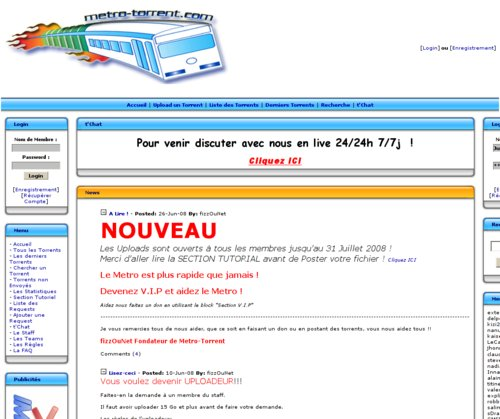 Saisie d'écran du site metro-torrent