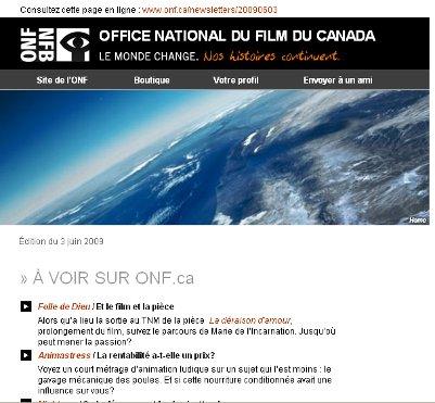 Saisie d'écran d'un courriel de la liste de diffusion de l'ONF