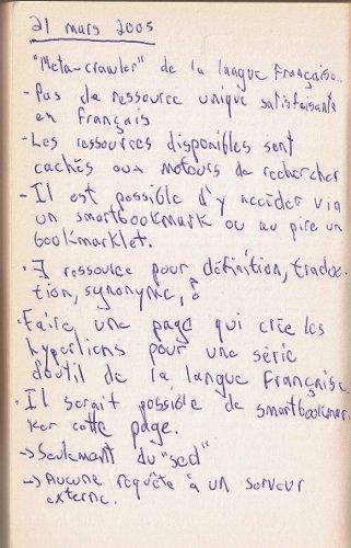 Première page des notes manuscrites pour créer liendex