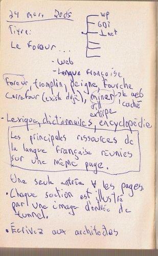 Troisième page des notes manuscrites pour créer liendex