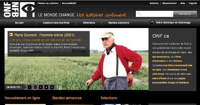 Saisie d'écran de la page d'accueil de l'ONF