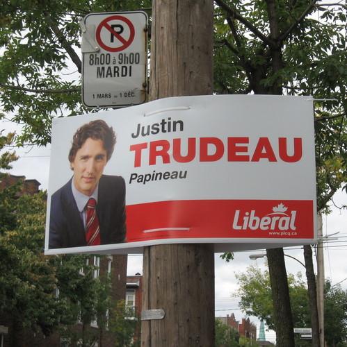 Pancarte de Justin Trudeau