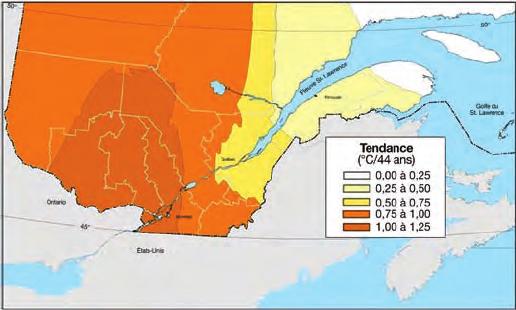 Interpolation de la tendance des températures annuelles moyennes entre 1960 et 2003