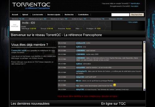 Saisie d'écran du site TorrentQC