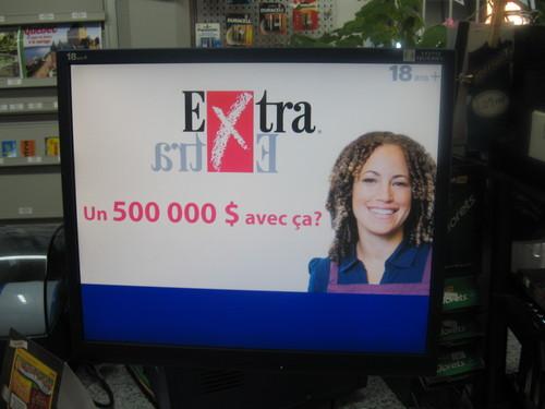 Écran plat de Loto-Québec pour de la publicité