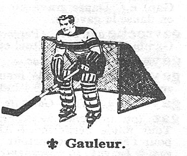 Image dessinée d'un gauleur de hockey devant un filet